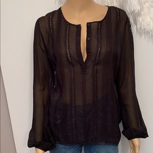 Anthropologie Gold Hawk Black Blouse Small